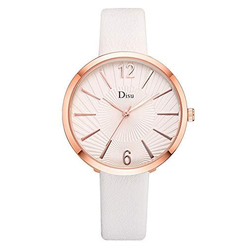 SMBYLL Reloj De Aleación Personalizado Cinturón De Cuero Artificial Reloj De Pulsera De Cuarzo Elegante Femenino (Blanco)