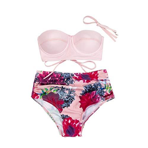 QingJiu 2020 Mode Bandeau Sling Bikini Damen Sommer Hohe Taille Drucken Bademode Zweiteiliger Badeanzug Beachwear Set