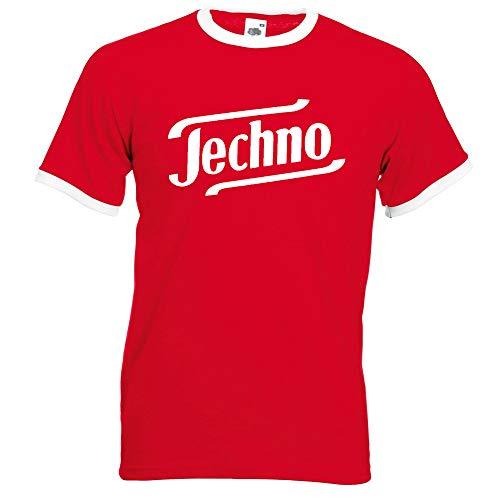 Techno Ringer T-Shirt Rot-Weiss-Weiss (L)