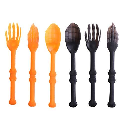 BESTONZON 2 juegos de vajilla de Halloween de plástico decorativo para cocina, suministros creativos para fiestas, tenedores, cucharas para restaurante, bar, hogar