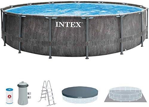 Intex 26742NP - Piscina desmontable INTEX, 457x122 cm, con depuradora cartucho, 3.785 litros/hora, filtro cartucho tipo A, piscina Greywood Prism Frame, 16.805 litros, piscina para 6 personas 1