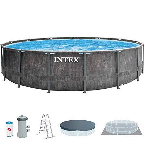 Intex 26742NP - Piscina desmontable INTEX, 457x122 cm, con depuradora cartucho, 3.785 litros/hora, filtro cartucho tipo A, piscina Greywood Prism Frame, 16.805 litros, piscina para 6 personas