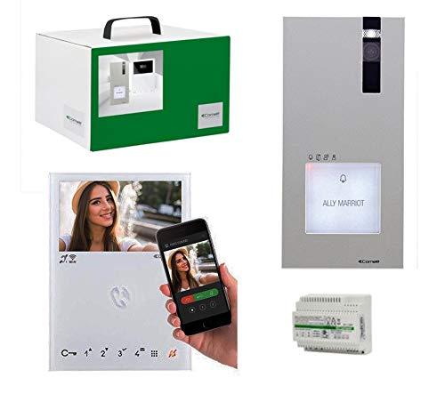 Comelit 8451 V - Kit monofamiliar con vídeo conectado con kit cuadrado y mini HF WiFi
