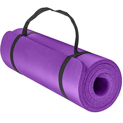 IMBTECH - Esterilla de yoga gruesa grande – Antideslizantes – Esterillas de pilates – Para ejercicio en exteriores e interiores con correa – Para ejercicios de gimnasia de pilates (morado)