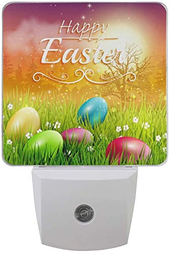 Plug-in LED-Nachtlichtlampe Dino-Druck im skandinavischen Stil mit Dämmerungs- bis Dämmerungssensor für Schlafzimmer, Badezimmer, Flur, Treppe-2-Pack-Ostern