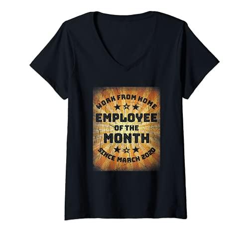 Mujer Trabajar desde casa Empleado del mes Camisa Empleado de casa Camiseta Cuello V