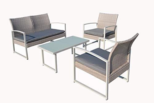 KitGarden - Conjunto Mobiliario Terraza/Jardín, 2 Sillones + 1 Sofás dos plazas + 1 Mesa, Blanco/Gris, Barbados