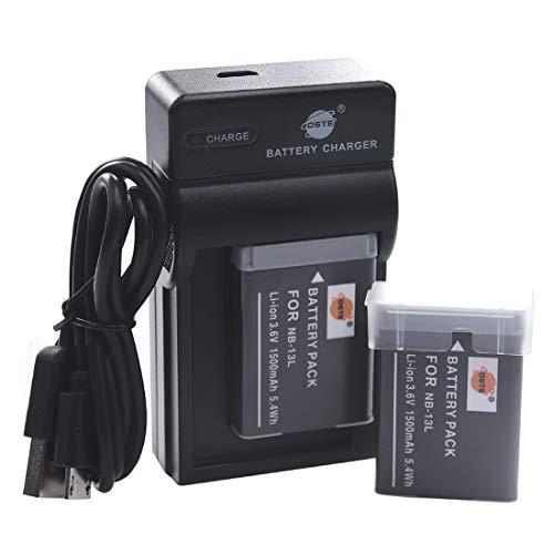 DSTE NB-13L Li-ion Batería (2 paquetes) Traje y cargador micro USB para Canon PowerShot G5X G7X G9X