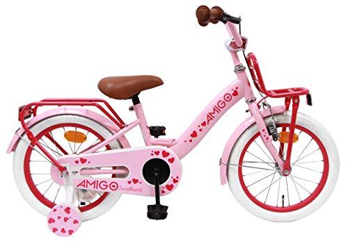 Amigo Sweetheart - Kinderfahrrad für Mädchen - 16 Zoll - mit Handbremse, Rücktritt, Gepäckträger Vorne, Lenkerpolster und Stützräder - ab 4-6 Jahre - Rosa