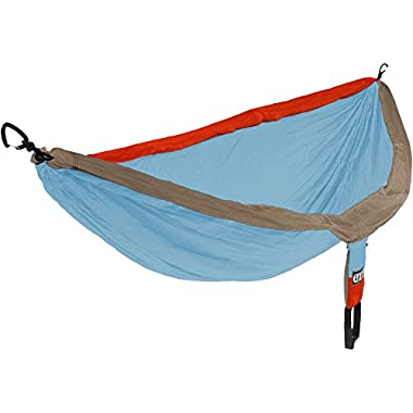 ENO Eagles Nest Outfitters - DoubleNest Hammock, Portable Hammock for Two, Powder Blue/Orange/Khaki