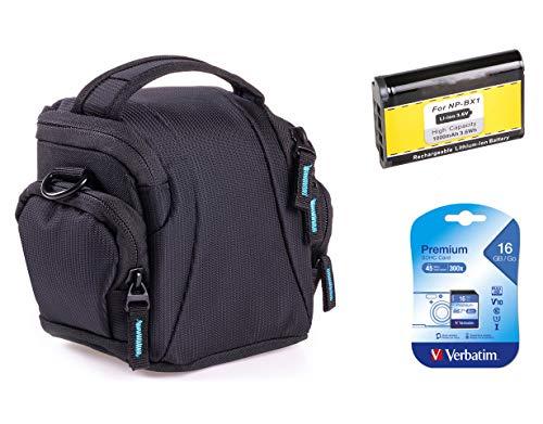 Bodyguard Sparset Tasche für Sony DSC-HX400V - Fototasche schwarz + Ersatzakku NP-BX1 + 16GB SD Karte