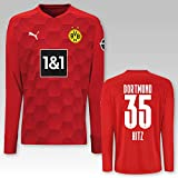 PUMA BVB Torwarttrikot rot Saison 2020/21, Größe:164, Spielername:35 Hitz
