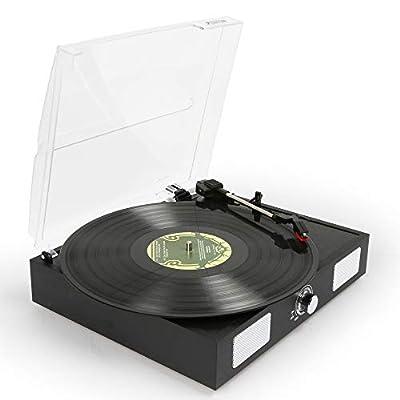 Fenton RP108B Portable Retro Record Player, Built In Speakers, USB Output, Black PVC Leather Finish
