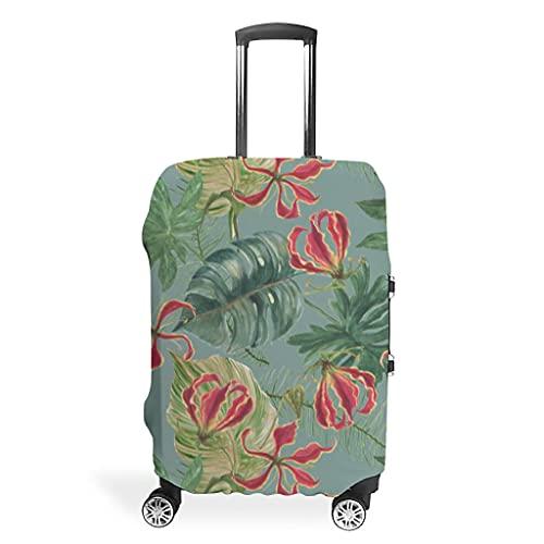 Plantas tropicales Monstera, hojas de palma, flores, maletas, fundas para equipaje, funda para equipaje