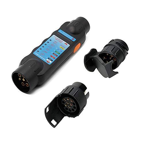 Wilktop Anhängerbeleuchtung Testgerät, Wohnwagen Anhänger Prüfgerät 12V Trailer Tester für 7 und 13-polige Stecker und Steckdosenanschluss