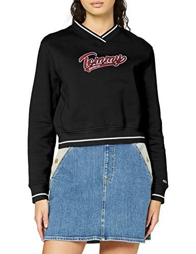 Tommy Jeans Damen Tjw V-Neck Sweatshirt Pullover, Black, XS