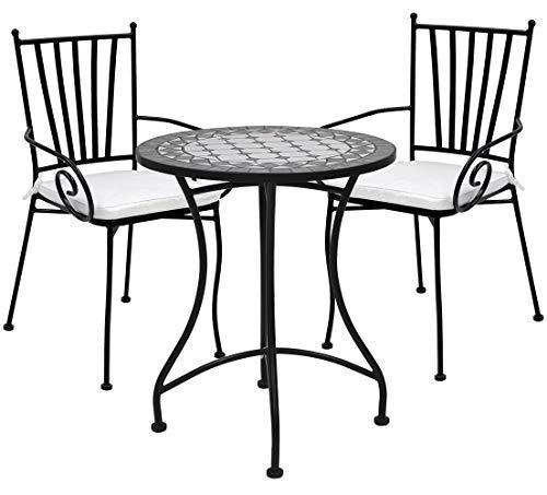 TessaHome Lot de 2 chaises en fer forgé avec accoudoirs et table circulaire en céramique 60 cm de diamètre (vert et blanc)