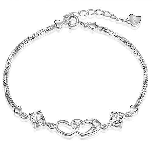 Ategazza Armband Doppel Herz 925 Sterling Silber Zirkonia Damen Armkette GB06 (Doppel Herz)