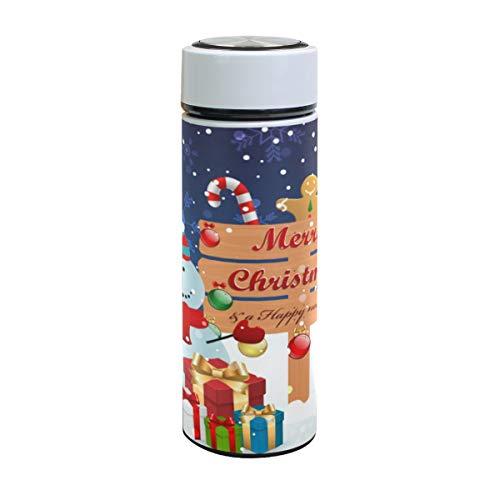 Emoya Botella de agua de acero inoxidable de 500 ml, regalo de muñeco de nieve de Navidad, estrellas, copo de nieve, botella de agua aislada al vacío, sin BPA, a prueba de fugas, doble pared, boca ancha para bebidas calientes y frías, 17 onzas