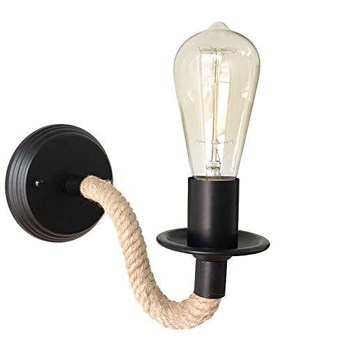 Retro Wandlampe, Goeco Hanfseil Industrielle Wandleuchte Innen mit E27 Lampenfassung für Schlafzimmer Wohnzimmer Restaurant Hotel Kaffee Dekoration, Glühbirne nicht Enthalten