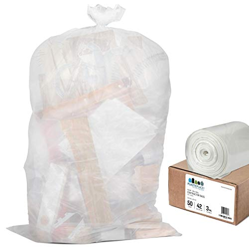 Plasticplace Contractor Trash Bags 42 Gallon  3.0 Mil  Clear Heavy Duty Garbage Bag  32.6 x 46.4 (50 Count)