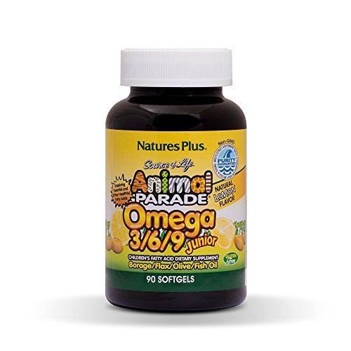 NaturesPlus Animal Parade Source of Life Omega 3 6 9 Junior - Lemon Flavor - 90 Softgels - Children's Fatty Acide Dietary Supplement - Non-GMO, Gluten-Free - 45 Servings