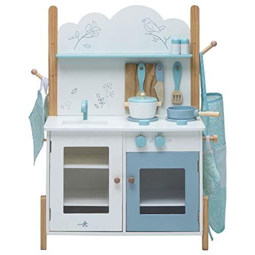 labebe Kids Wooden Pretend Kitchen Playset, Toddler Play Kitchen Set Cupboard Groceries, Pretend Food and Role Play for Children Boy & Girl - Bird Print White/Blue