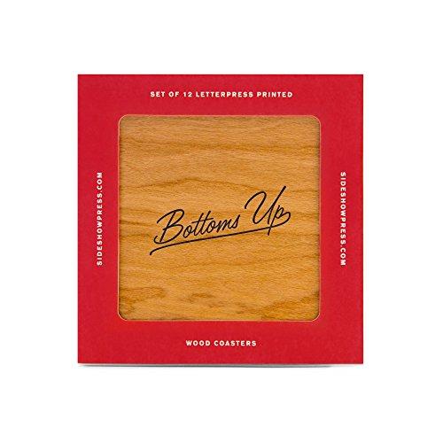 Onderzetters voor hout fineer – Bottoms Up – set van 12
