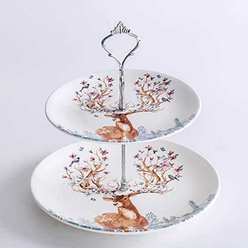 Elk keramisch serviesgoed gerechten voor fruit rendieren voor Kerstmis herten snack cake pan zoet decoratieve porseleinen bord Dienblad tafel,Kroon zilverplaten