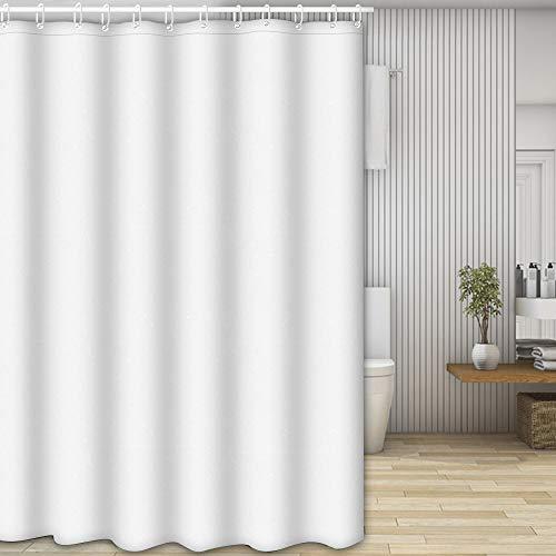 Nasharia Duschvorhänge, Waschbar Badvorhänge aus Polyester, Wasserdicht Anti-Schimmel, Anti-Bakteriell mit 12 Duschvorhangringe Design, 180 x 200cm, Weiß