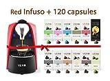 VERO Coffee Hamper, Includes 1 Red Infuso Coffee Capsule Pods Machine & 120