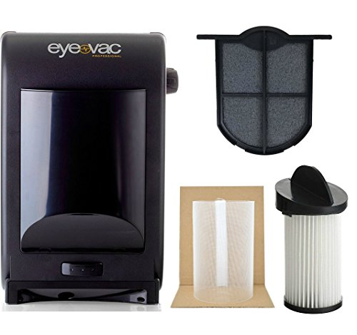 EyeVac EVPRO Tuxedo Black Professional Touchless Vacuum Cleaner + Extra Reusable Exhaust Filter + Extra HEPA Pre-Motor Filter + Pre-Motor Flexible Mesh Filter Screen Accessories Bundle