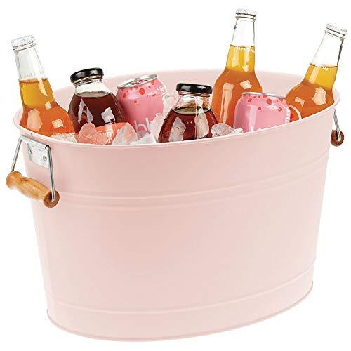 mDesign Champanera de Metal – Enfriador de Botellas Decorativo con Asas – Ideal como Cubo para Enfriar Bebidas como Vino, Cerveza, Cava o refrescos – Rosa/Natural