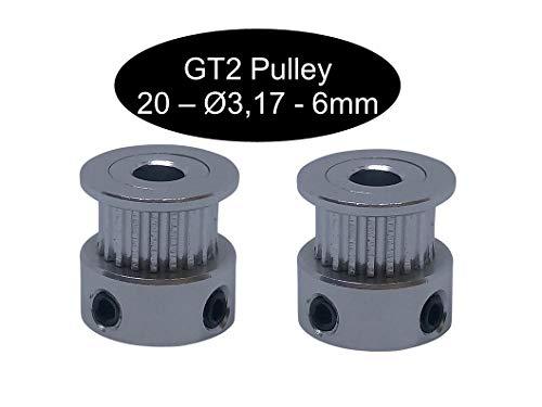 2 X GT2 con 10 mm larghezza 12, 16, 18, 20, 24, 26, 28, 30, 32, 36, 40 o 60 denti puleggia a scelta, GT2 20Z Ø3,17mm, 1
