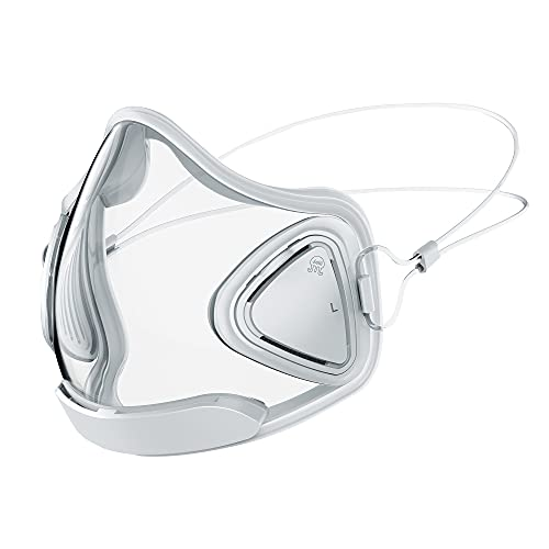 Jelli M1 Antifog Transparent, Breathable Face Mask with Reusable Filter, Adjustable Straps for Adults, Teachers (Arctic)