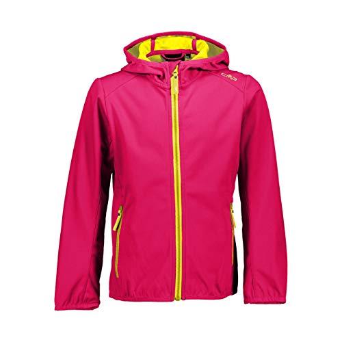 CMP Softshelljacke mit Fixed Hood für Mädchen, Mädchen, 39A5115, Geraneo-Lemon, 164