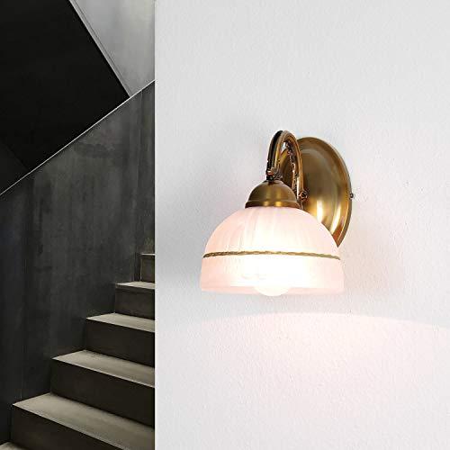 Elegante Wandleuchte Glas Schirm Jugendstil E27 in Bronze Wohnzimmer Schlafzimmer Wandlampe