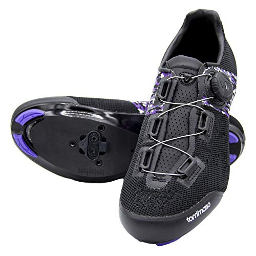 Tommaso Pista Aria Elite Women's Spin Class Ready Cycling Shoe and Bundle - Black/Purple - SPD - 41