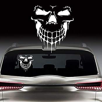 KE-KE Skull Decal Reflective Sticker Waterproof Bumper Window Vinyl for Cars  Silver 12.4 x14.1