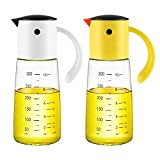 Olive Oil Dispenser Bottle for Kitchen Cooking - Auto Flip Condiment Container With Automatic Cap and Stopper - Leakproof Vinegar Glass Cruet Stainless Steel Non-Drip Spout (white and yellow)