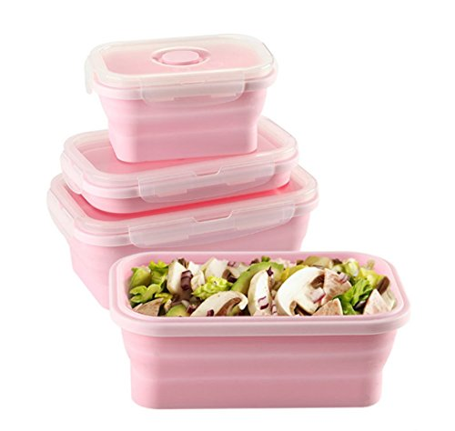 Keweis Silicone Lunch Box, Collapsible Folding Food Storage Container with Lids, Kitchen Microwave Freezer and Dishwasher Safe Kids