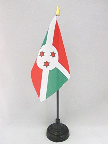 AZ FLAG TISCHFLAGGE Bur&i 15x10cm goldene splitze - BURUNDISCHE TISCHFAHNE 10 x 15 cm - flaggen