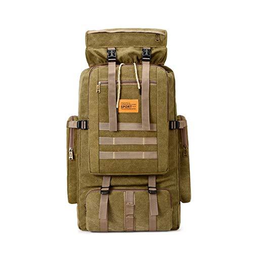 WOSHUAI Khaki Canvas Bag 50L Tactical Trekking Backpacks Backpacks Outdoor Hiking Backpacks for Camping Hiking Travel