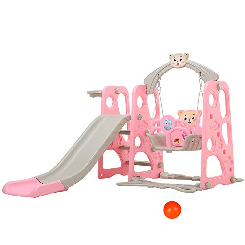 Nzevz 4 in 1 Toddler Climber and Swing Set, Kids Play Climber Slide Playset with Basketball Hoop, Extra Long Slide and Ball, Easy Set Up Baby Playset for Indoor Outdoor Backyard (Pink Bear)