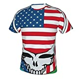 Skull and Roses Bears - Camiseta de manga corta con estampado en 3D, cuello redondo, estilo casual y clásico