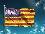 Oedim Pack 5 Banderas de Islas Baleares 85x150cm | Reforzada y con Pespuntes | Bandera de Islas Baleares con 2 Ojales Metálicos y Resistente al Agua