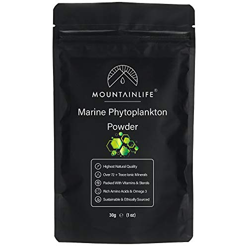 Mountainlife Marine Phytoplankton Powder | 30g | Highest Natural Quality | Deep Sea Mineral Rich Phytoplankton Algae Powder | Suitable for Humans & Pets | Natural Borehole Farmed Marine Phytoplankton
