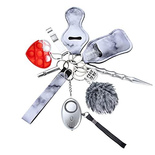 Keychain Set Tiktok Free to be Pride 2021 for Women Girls Men Keyring LGBT Gift Portable 11 in 1 Key Chain Kit with Pom Lip Balm Chapstick Holder