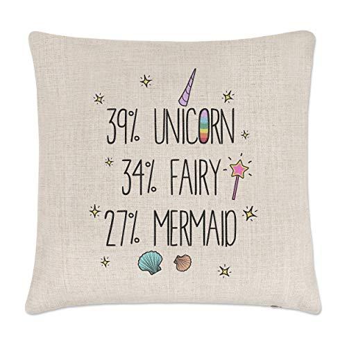 39% Unicorn 34% hada 27% lino diseño de la Sirenita funda para cojín