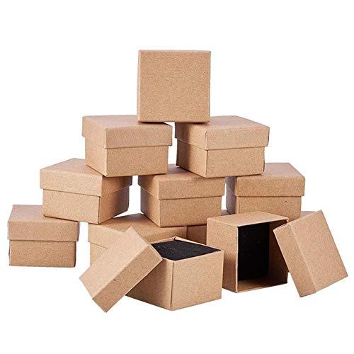 12 piezas Kraft Brown Square Cartón Cajas de anillos de joyería Cartón de joyería Papel Caja de regalo al por menor para collares Aniversarios Bodas Fiesta Festivales Cumpleaños 5x5x3cm